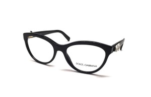 Dolce&Gabbana NEW DG 3224 921 - STUNNING BLACK CAT EYE GLASSES with WHITE ROSE