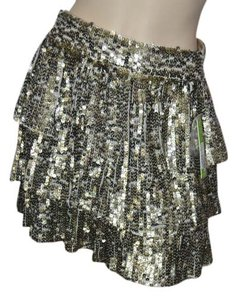 Alice + Olivia Nwt Sequins Tiered Mini Skirt Gold