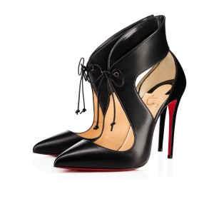Christian Louboutin Ferme Rouge Lace Up Suede Pointed Toe Black Pumps