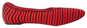 Cline Ballet Striped Black Fabric Red Flats