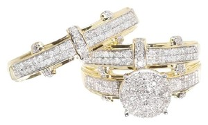 Other 10K Gold Round Diamond Engagement Bridal Wedding Ring Trio Set .85ct