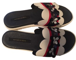 Mother of Pearl Navy and White Mules