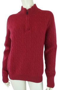 Allen Solly Unisex Cashmere Half Zip Standup Collar Cable Knit Sweater