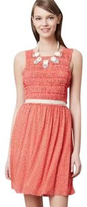 Anthropologie short dress Coral and White Polka Dot Sleeveless Empire Waist on Tradesy