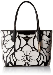 Calvin Klein Safiano Leather Black Floral Tote in WHITE