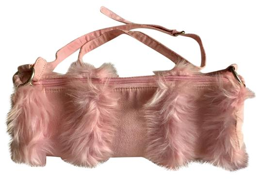Preload https://item3.tradesy.com/images/pink-faux-fur-and-fabric-cross-body-bag-20620477-0-1.jpg?width=440&height=440