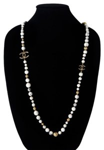 Chanel PEARL MARBLE NECKLACE 2016 - NEW - WHITE GOLD BEAD CC CHARM CHAIN 16A