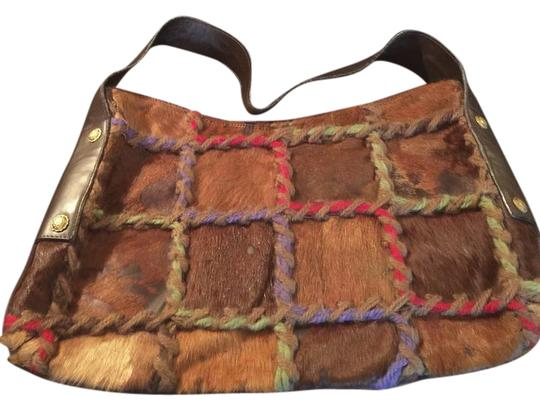 Preload https://img-static.tradesy.com/item/20620508/berge-brown-multi-animal-skinyarnleathersuede-shoulder-bag-0-1-540-540.jpg
