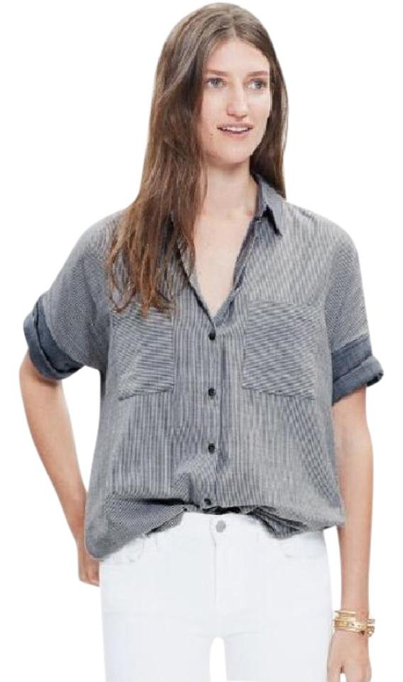 4c312614 Madewell Lilydale Stripe (Blue) Courier Shirt Button-down Top Size 2 ...