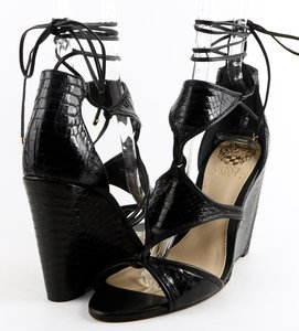 Vince Camuto Maria Wedges Lace- Up Size 8 Black Sandals