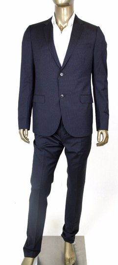 Gucci Blue Men's Navy Striped Suit Blazer Pants It 56 L/ Us 36 L 353236 4440 Groomsman Gift