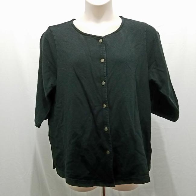 Item - Black Solid Front 3/4 Sleeve Causal Tunic Size 20 (Plus 1x)