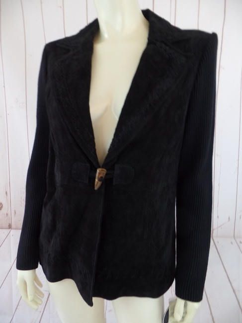 Peter Nygard Suede Leather Sweater Knit Petite Black Blazer