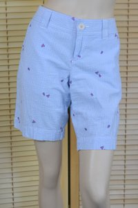 Lilly Pulitzer Striped Lilly Print Blue Bermuda Shorts Blue/White