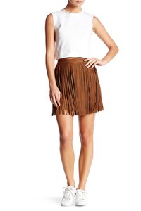 BB Dakota Fringe Suede Boho Festival Mini Skirt antelope brown