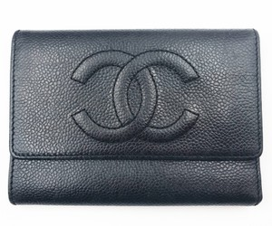 Chanel Chanel Classic CC Stitching Trifold Black Caviar Leather Wallet