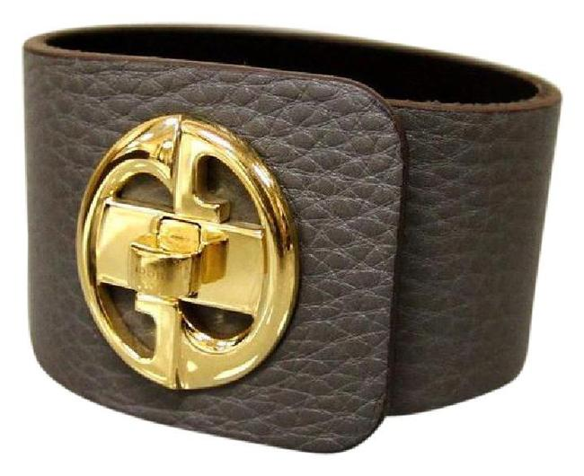 "Item - Gray 1973 W ""1973"" Leather Bangle W/Gold G 17 253514 Bracelet"