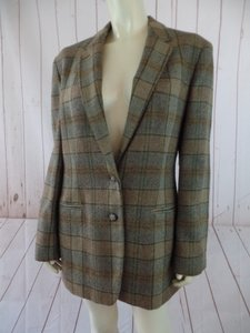 Ralph Lauren New Wool Equestrian Pockets Tans & Browns Plaid Blazer