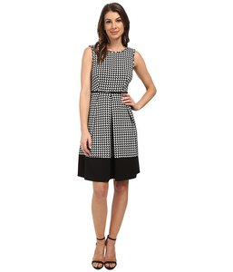 Calvin Klein Ponte Tea Length Belted Dress