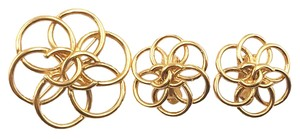 Chanel Vintage Chanel Gold Plated Round Flower Piercing Earrings and Brooch
