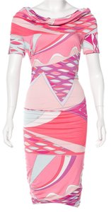 Emilio Pucci Longsleeve Embellished Print Monogram Dress
