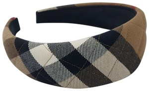 Burberry Beige, black Burberry House Check print metallic wide headband