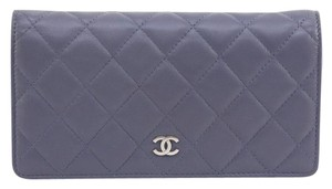 Chanel Chanel 12C Purple Lambskin Quilted Leather Yen Wallet Bifold Silver CC