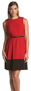 Calvin Klein Tea Length Belted Fit And Flare Dress
