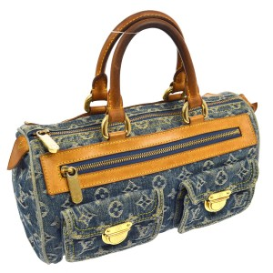 Louis Vuitton Speedy Keepall Looping Vernis Monogram Satchel in Blue