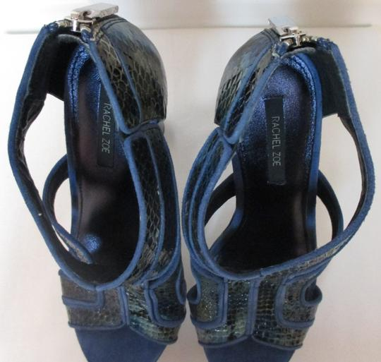 Rachel Zoe Chunky Ultra High Cut Out Blue Platforms