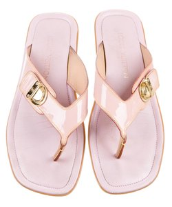 Louis Vuitton Logo Lv Monogram Hardware Patent Leather Vernis Beige, Pink, Gold Sandals