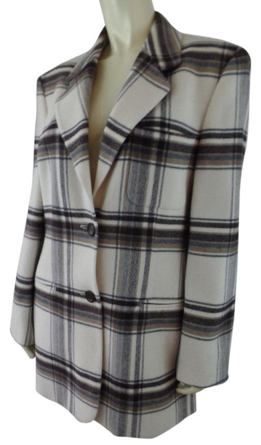 Preload https://img-static.tradesy.com/item/20621121/ivory-black-tan-coat-36-us-4-6-long-wool-plaid-made-in-germany-blazer-size-6-s-0-1-650-650.jpg