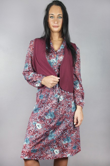 Other short dress Maroon Vintage Long Sleeve Floral 70s on Tradesy