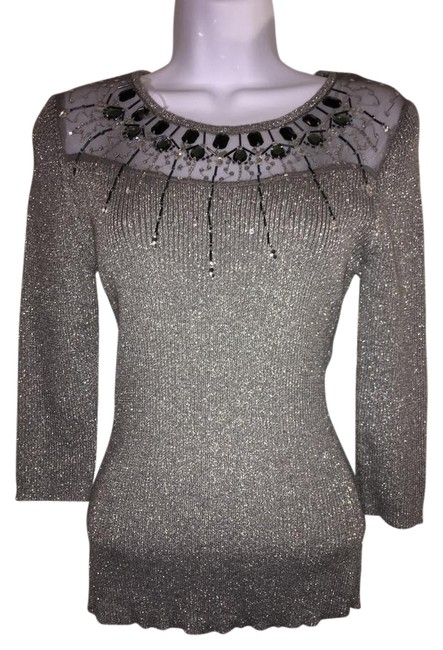 Preload https://item4.tradesy.com/images/lauren-michelle-silver-or-grey-sweater-blouse-size-6-s-20621163-0-1.jpg?width=400&height=650