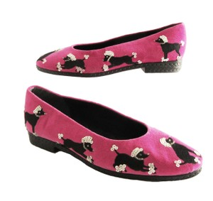Beverly Feldman 7 Poodles Velvet Leather Pink Flats