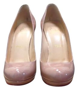 Christian Louboutin Patent Leather Platform Neofilo 120mm Nude Pumps