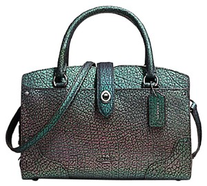 Coach Leather Rare Mercer 24 Satchel in Purple and green hologram