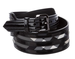 Burberry Black multicolor Beat check coated canvas Burberry wide belt L