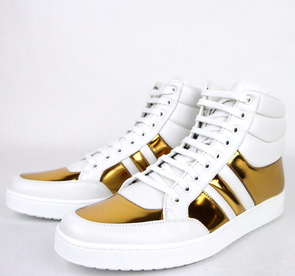 4cb64c34beff Gucci White Gold 9068 Men s Contrast Padded Leather High-top 368494 ...