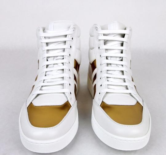 Gucci White/Gold 9068 Men's Contrast Padded Leather High-top 368494 10/ Us 10.5 Shoes