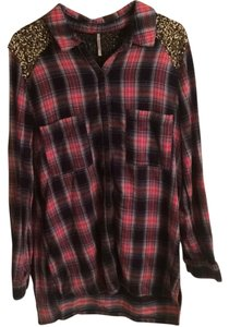 Free People Button Down Shirt Red, Blue, and White