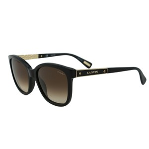 Lanvin New Lanvin SLN 640 Black & Gold Bolt Details Square Wayfarer Sunglas