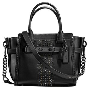 Coach Rivets Bandana 55524 Swagger Satchel in Black