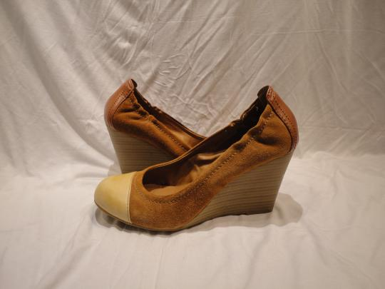 Lucky Brand Suede Brown Colorblock Wedges
