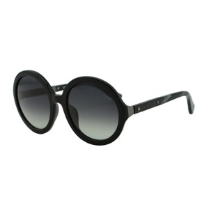 Lanvin New Lanvin SLN628V Round Black Leather Detail Oversized Sunglasses