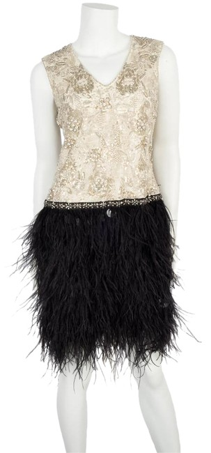 Item - Cream & Black Beaded Feathered Mid-length Cocktail Dress Size 6 (S)