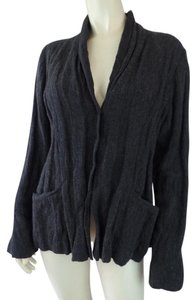 Eileen Fisher Crinkle Textured Italian Fuzzy Soft Charcoal Heather Blazer