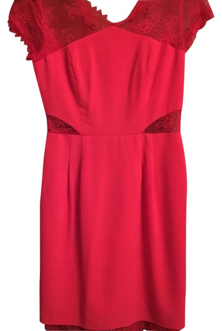 Preload https://img-static.tradesy.com/item/20621877/bcbgmaxazria-watermelon-red-lace-v-neck-mid-length-cocktail-dress-size-2-xs-0-3-650-650.jpg