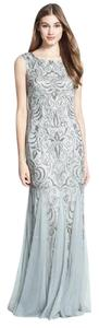 Adrianna Papell Grey Mist Adrianna Papell Mist Grey Beaded Mermaid Gown Dress