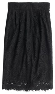 J.Crew Pencil Pintucked Lace Skirt Black